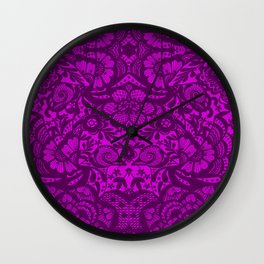 Purple lace flowers and doves Wall Clock