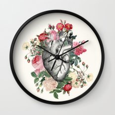 Roses for her Heart Wall Clock