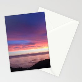 Purple and Pink Summer Beach Sunset Stationery Cards