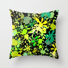 Green Ink Blots and Stains Throw Pillow