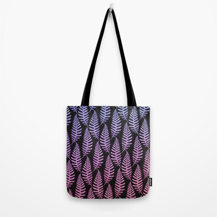Multi Color Leaves (Black) Tote Bag