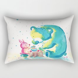 Bear with Rabbit - My Beary Berries Friend Rectangular Pillow