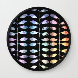 row of colored leaves (black background) Wall Clock