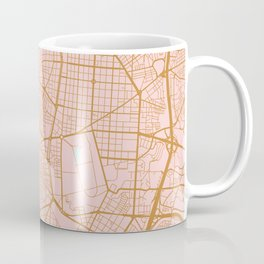 Pink and gold Madrid map, Spain Coffee Mug