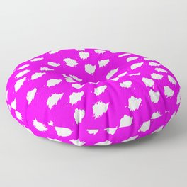 Hot Pink Pattern With Tiny White Cloud Puffs Floor Pillow