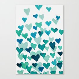 Valentine's Day Watercolor Hearts - turquoise Canvas Print