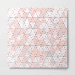 Pink geometrc trianges print Metal Print