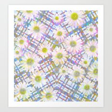 Daisy Plaid Art Print