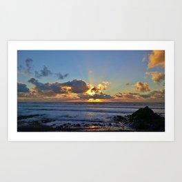 SUNSET SANDYMOUTH BEACH CORNWALL Art Print