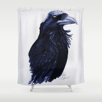 raven Shower Curtains featuring .Raven by Isaiah K. Stephens