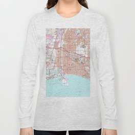 Vintage Map of Long Beach California (1964) Long Sleeve T-shirt