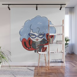 Cat-eye glasses and hearts Wall Mural