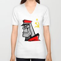 russia V-neck T-shirts featuring For Russia by Dangerous Monkey