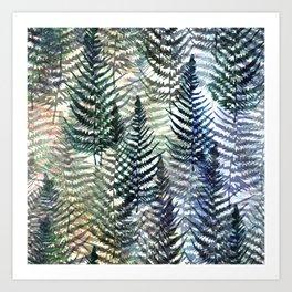 Watercolour Ferns Art Print