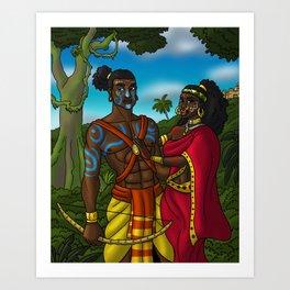 Rama and Sita from the Ramayana Art Print