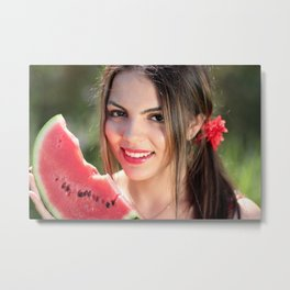 Sexy Woman With Watermelon Metal Print