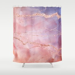 Blush and Purple Sky with Rose gold flashes Shower Curtain