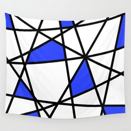 Geometric Modern triangles - white blue Wall Tapestry