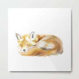 Woodland Sleepy Fox Metal Print