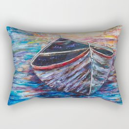 Wooden Boat at Sunrise - original oil painting with palette knife Rectangular Pillow