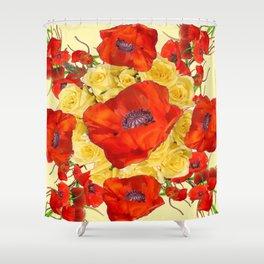 ORANGE POPPY FLOWERS GARDEN YELLOW ROSES ART Shower Curtain