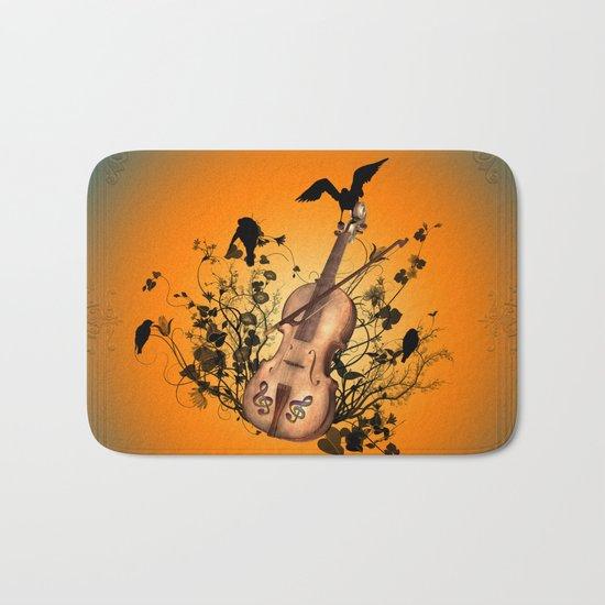 Violin with violin bow Bath Mat
