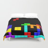 tetris Duvet Covers featuring Tetris Love by Wheel of Fortune