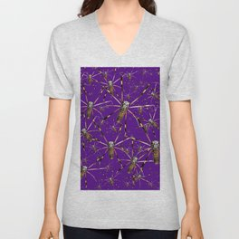 Watercolor Graphic 07, Spider Crawl, Golden Orb Weaver Royale Unisex V-Neck