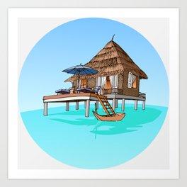 Maldives Hut Art Print