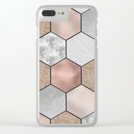 Marble hexagons and rose gold on black Clear iPhone Case