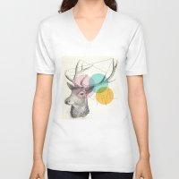 stitch V-neck T-shirts featuring stitch doe by Vin Zzep