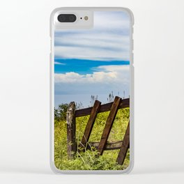 Wood Fence Lining a Meadow with Lake Views on Mombacho Volcano in Nicaragua Clear iPhone Case