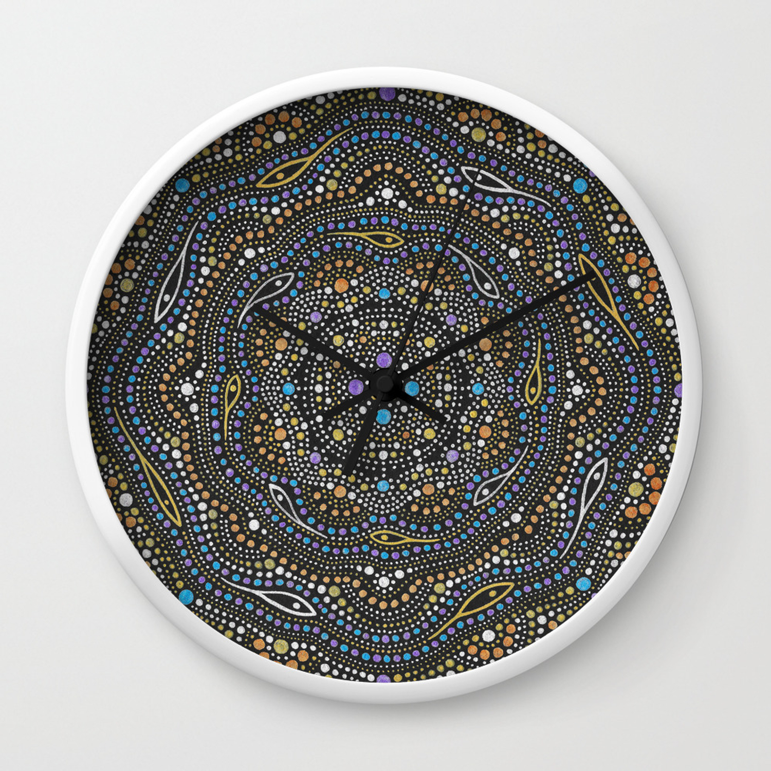 Metallic Dot Mandala Wall Clock