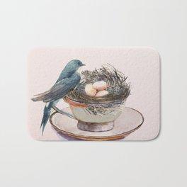 Bird nest in a teacup Bath Mat