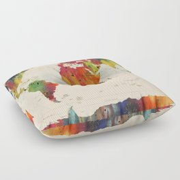 ALLOVER THE WORLD-Painted map Floor Pillow