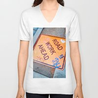grafitti V-neck T-shirts featuring Road Work Ahead by Mauricio Santana