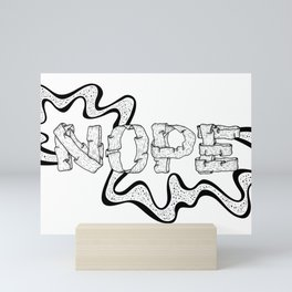NOPE - Black and White Mini Art Print