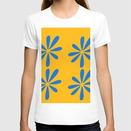 Blue flowers on a yellow background T-shirt