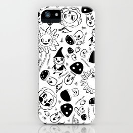 gnomes black and white iPhone Case