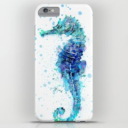 Blue Turquoise Watercolor Seahorse iPhone Case