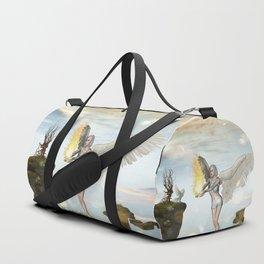 Wonderful fairy  on the rock Duffle Bag