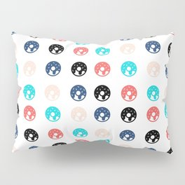 Pink, Blue, and Black Doughnuts Pillow Sham