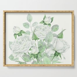 Bouquet Of Pastel Green Roses Serving Tray