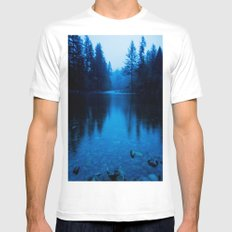 Forest Reflection Nature Lake - Blue Forest Trees Water Reflection MEDIUM White Mens Fitted Tee