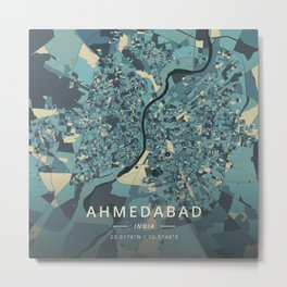 Ahmedabad, India - Cream Blue Metal Print