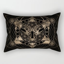 Deer in Sacred Geometry Composition - Black and Gold Rectangular Pillow