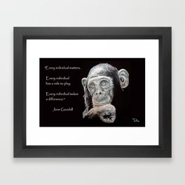 a Jane Goodall quote - black Framed Art Print