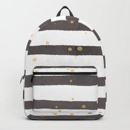 Modern gray yellow white watercolor splatters stripes Backpack