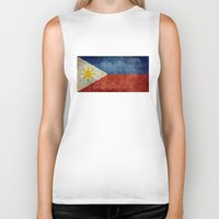 philippines Biker Tanks featuring  Republic of the Philippines national flag (50% of commission WILL go to help them recover) by Bruce Stanfield