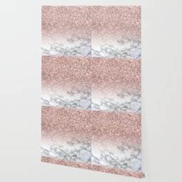 Sparkle - Glittery Rose Gold Marble Wallpaper